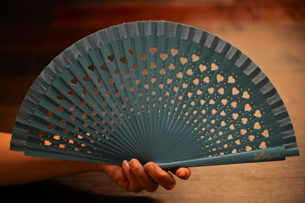 "Wooden Hand-Fan ""Luck"" Blue"