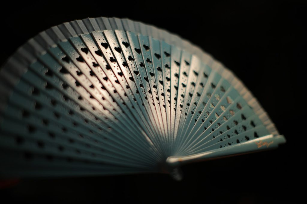"Wooden Hand-Fan ""Luck"" Blue 1"
