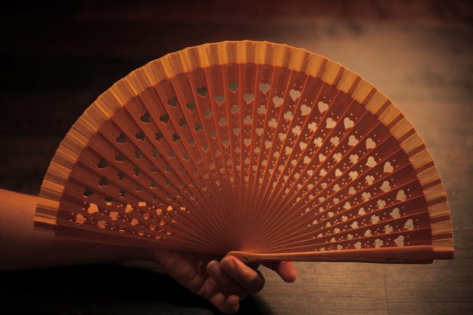 "Wooden Hand-Fan ""Luck"" Hazelnut"