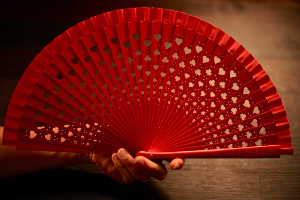 "Wooden Hand-Fan ""Luck"" Red"