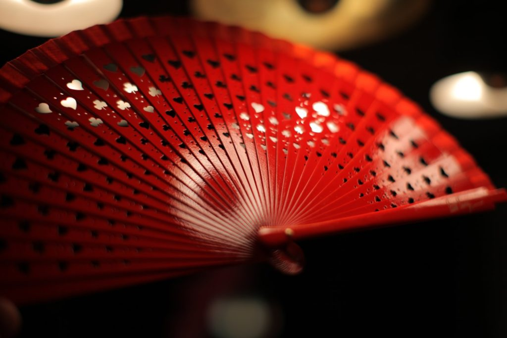 "Wooden Hand-Fan ""Luck"" Red 1"