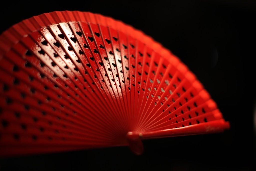 "Wooden Hand-Fan ""Luck"" Red 3"